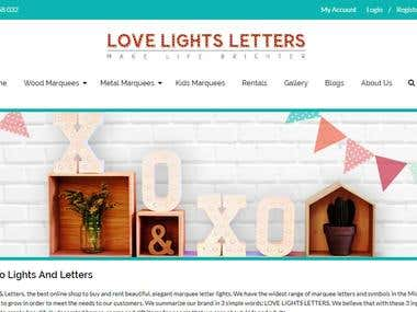 ECommerce website - Love Lights Letters