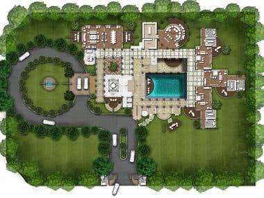 Masterplan and floor plan renderings