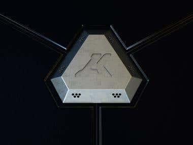 3d sci fi render of logo