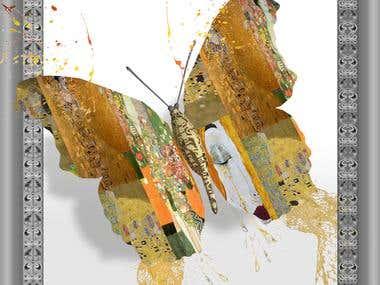 3d Butter fly with Gustav Kilmt mosaic design