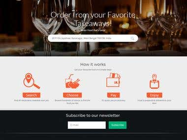 Restaurant take away website design and development