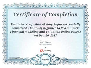 Financial Modeling Certificate - Udemy
