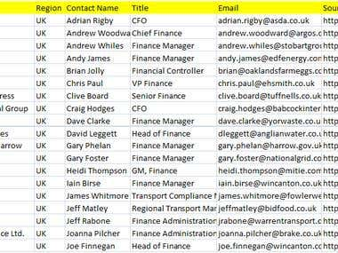 Find UK CFO & Finance related Person with Contact Emails