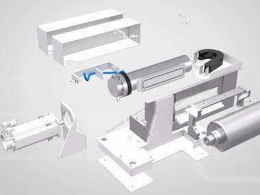 Exploded animation of a printer, Ebeam Technologies, Denmark