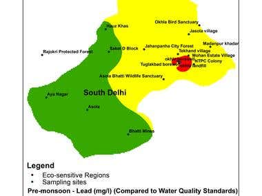 Lead Sample Map of South Delhi Region