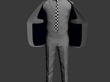 Men's full suit, screen shot from 3ds max