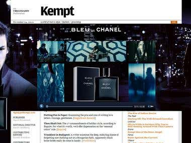 Pushdown Video Banner with site skin for BLEU DE CHANEL