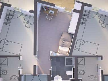 Top view of a hotel room