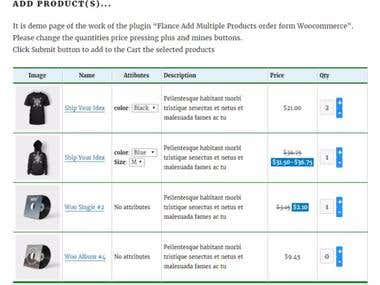 Flance Add Multiple Products order form PRO Woocommerce PLug