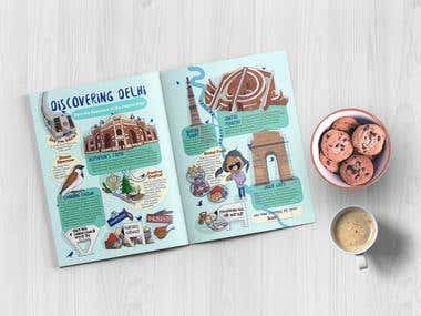 Discovering Delhi - Kid's magazine illustration