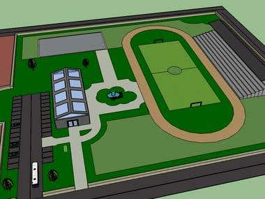 Sports complex 3D rendering