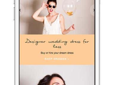 Custom Shopify theme for rentals company of bridal dresses.
