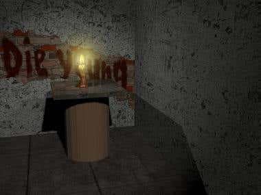 3D scene with a candle