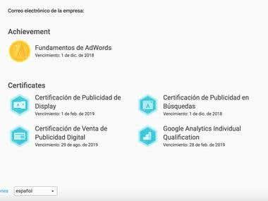 Certificados otorgados por Google