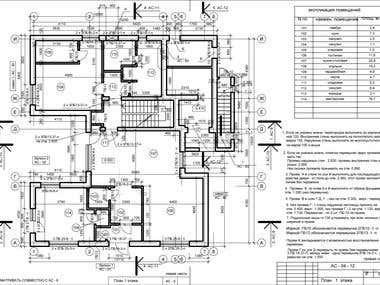 Private home detaied drawing - ground level plan