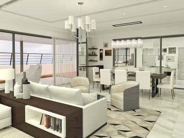 Living/dining area. Interior design
