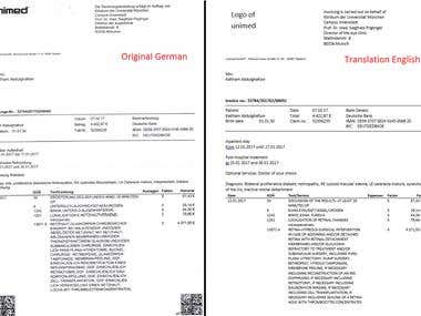 Medical Bill Translation from a scanned copy