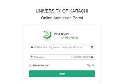 UNIVERSITY OF KARACHI Online Admission Portal