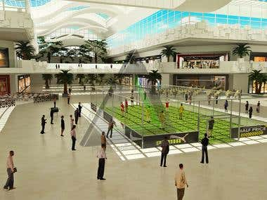 Playing court in shopping mall