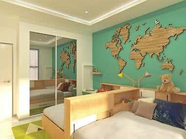 Boys' bedroom. Interior design. Renderings