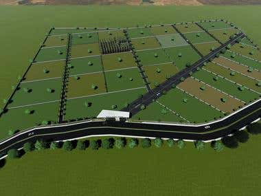 Site planning, landscaping and 3D rendering of Farm Land
