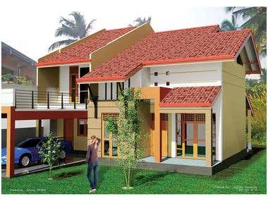 Three Bedroom House(Autocad)