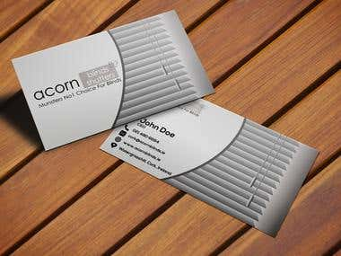 """Business Card For """"Acorn Blinds"""""""