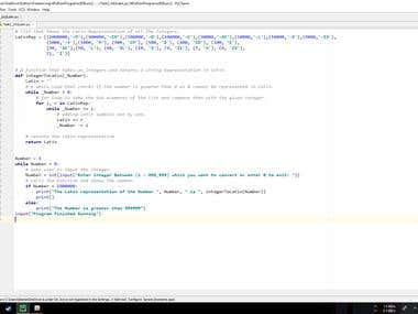 Python Program Converting Integer Number to Latin Numbers.