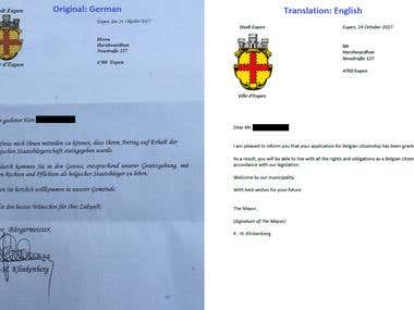 Certificate Translation German to English