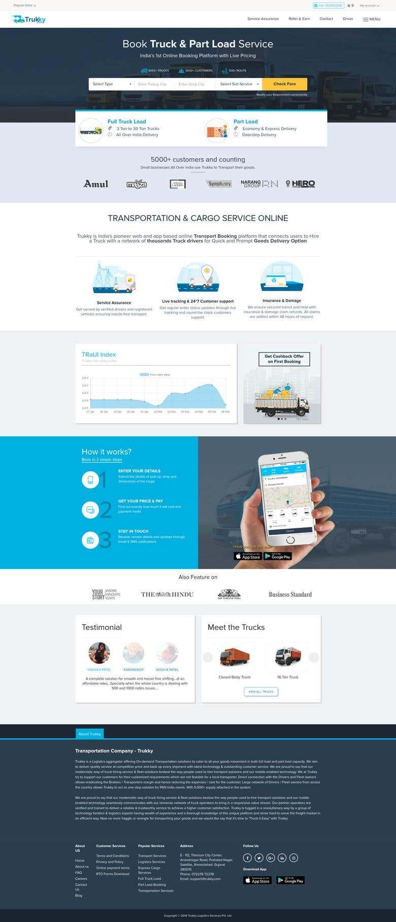 Trukky com website | Freelancer