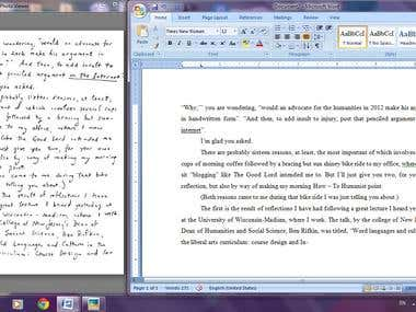 Hand Written Jpg image convert into Word document