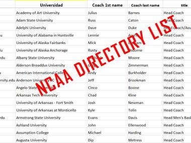 NCAA DIRECTORY LIST