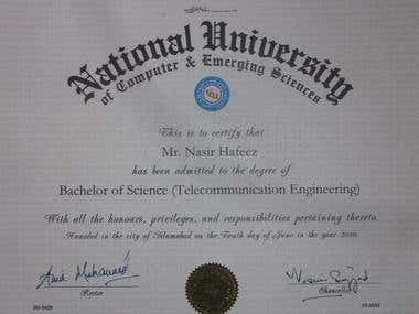 University Degree - Bachelor of Science, Telecom Engineering