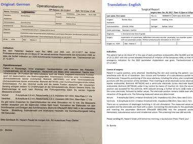 Medical Report Translation German to English