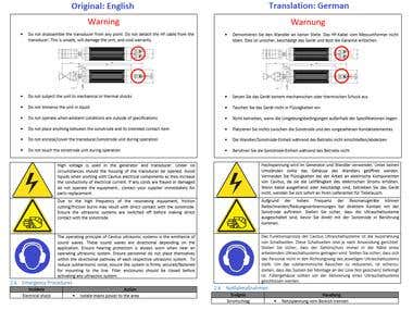 Operating Manual Translation English to German