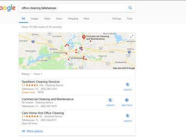 SERP for Keywords in Google - Sparkleen Cleaning Services