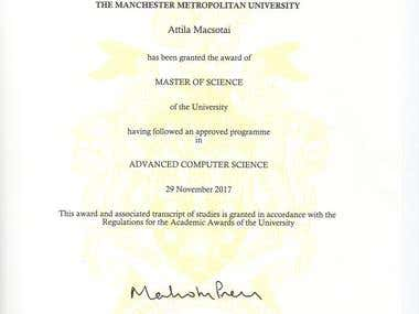 Degree in MSc Advanced Computer Science