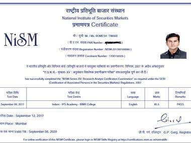 Certified Research Analyst by NISM