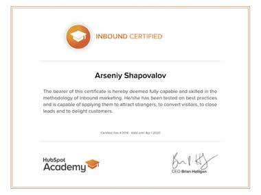Inbound Marketing Certification by HubSpot