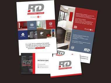 Diseño creativo folletos y tarjetas de visita