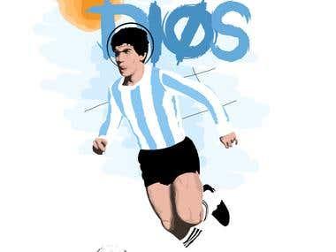 Maradona EL-DIOS vector art