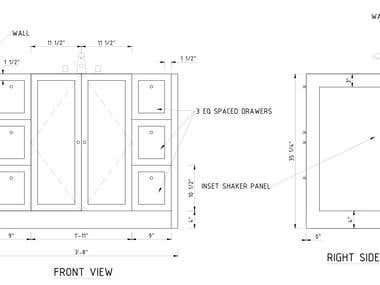 Set of millwork drawings