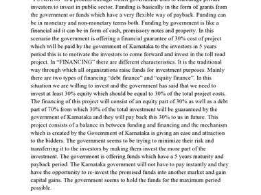 Financing/Funding Mechanism Of Karnataka Government Project
