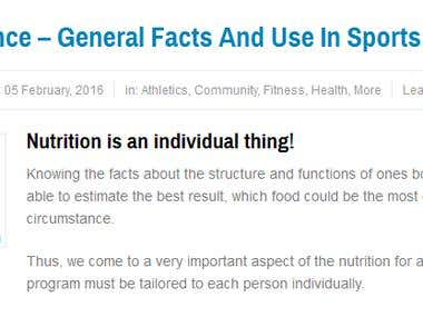 Nutrition Science - general facts and use in sports