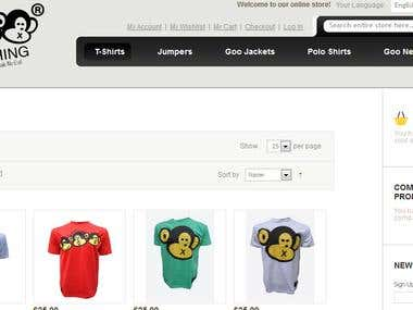 Ecommerce done in magento for apparel selling