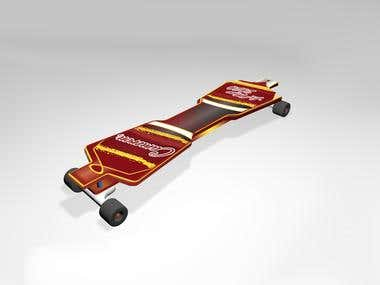 Skate board sports decal design and 3d model