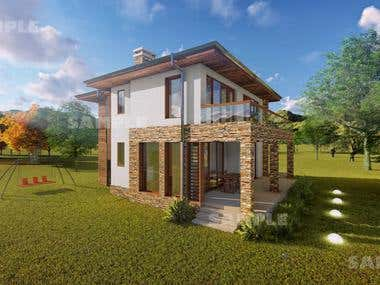Exterior rendering of a house