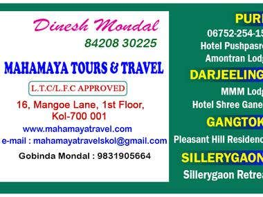 Simple Visiting Card for Tour & Travel business