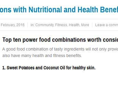 Food Combinations with nutritional and health benefits