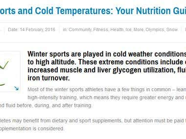 Winter sports and cold temperature : Your nutrition guide